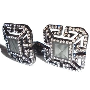 Diamond Style Studded Silver Accent Cuff Links Men